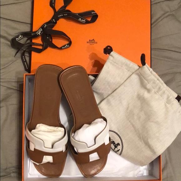 0d402c049054 Hermes Shoes | Herms Oran Flat Sandals Two Tone | Poshmark